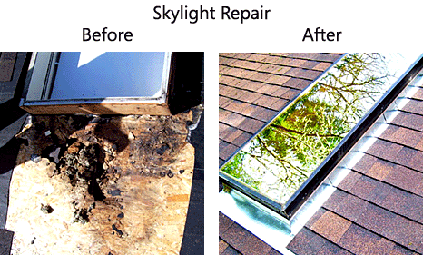 before and after example of Gruwell Roofing skylight repair