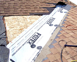 Example of roof repair mid-process, by Gruwell Roofing